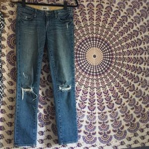 Distressed Paige ankle jeans